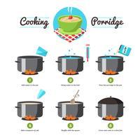 Instructies voor het koken van pap vector