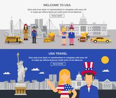Flat Banners samenstelling VS cultuur vector