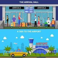 Reizen per vliegtuig Banners Set
