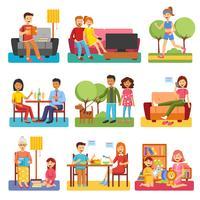 Familie plat pictogrammen