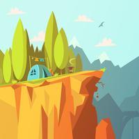 Tent op een klif illustratie