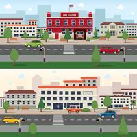 Gemeentelijke gebouwen banner set vector