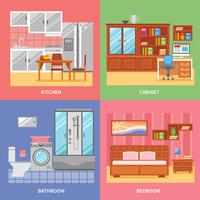 interieur kamer set vector