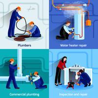 Loodgieter pictogrammen instellen vector