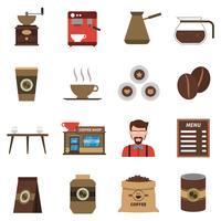 Koffie winkel plat pictogrammen instellen vector