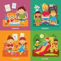 Kleuterschool concept set vector