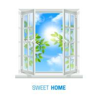 Open venster zonnige dag realistische pictogram vector