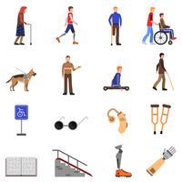 Gehandicapte gehandicapte mensen vlakke pictogrammen instellen