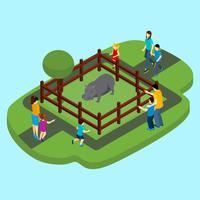 Hippo en dierentuin illustratie
