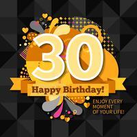 30e verjaardagskaart vector