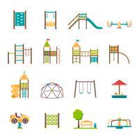 Speeltuin plat pictogrammen instellen vector