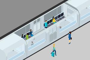 Ondergrondse mensen en trein illustratie