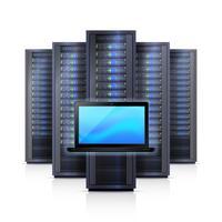 Serverrek Laptop Realistische Geïsoleerde Illustratie vector