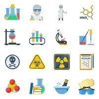 Chemie vlakke kleuren Icons Set