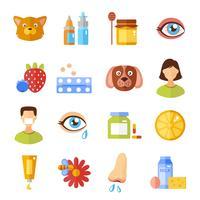 Allergietypen en oorzaken pictogrammen vector