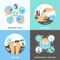 Manicure pedicure 4 plat pictogrammen plein