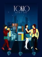Tokyo nachtleven Poster vector