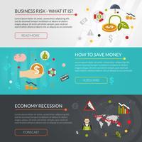 Financiële crisis vlakke interactieve banners instellen vector