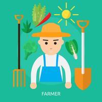 Landbouwer Conceptueel illustratieontwerp