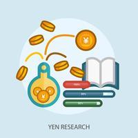 yen onderzoek conceptuele afbeelding ontwerp vector