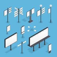 Billboard isometrische Set vector