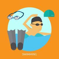 Zwemmend Conceptueel illustratieontwerp vector