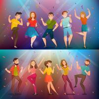 Dansende mensen Retro Banners Set vector