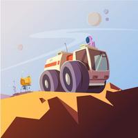 Onderzoek voertuig en kosmonaut illustratie