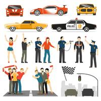 Streen Racing Flat DEcorative Elements Collection vector