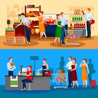 Klanten van supermarktcomposities vector