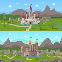 Middeleeuwse oude kastelen composities