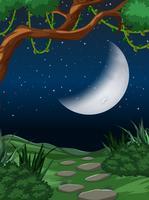 Cresent maan natuur scène vector