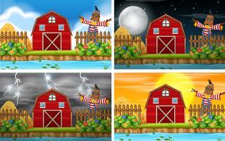 Set van boerderij scène vector