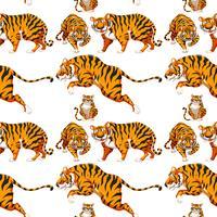 Naadloze meerdere Tiger achtergrond vector