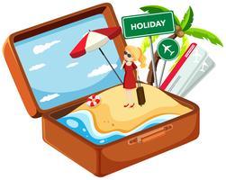 Vakantiemeisje in koffer