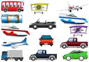 Set van transportvoertuig vector