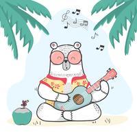 schattige doodle witte beer in zomer Shirt speelt gitaar vector