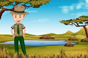 park ranger in Afrikaanse scène