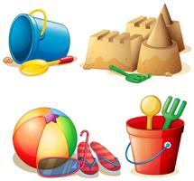 Emmer speelgoed en zandkasteel