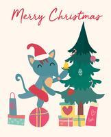 Kerstkaart, schattige vos op geschenkdoos met boom