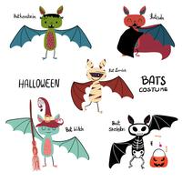 cartoon vleermuis Halloween kostuum collectie vector