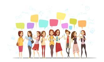 Teenage Girls Online Cartoon Poster