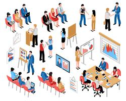 Zakelijk onderwijs en coaching Isometrische Icons Set