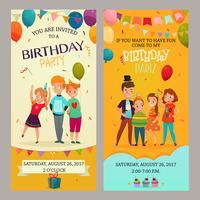 Kinderen partij uitnodiging Banners Set vector