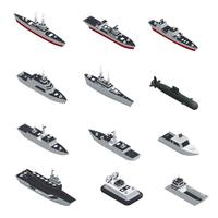 Militaire boten isometrische Icon Set vector