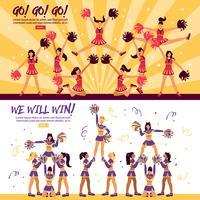 Cheerleaders Team 2 platte banners vector