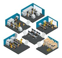 Elektronicafabriek isometrische met meerdere artikelen samenstelling vector