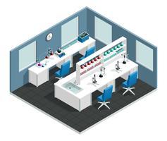 Wetenschappelijk laboratorium isometrisch interieur