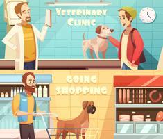 Hondenbanners instellen vector