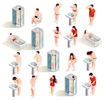 Morning Hygiene Characters-collectie vector